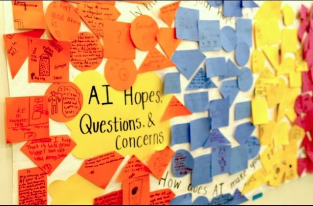 A mural of hopes and questions about artificial intelligence from a middle school workshop. — Photo courtesy of the Personal Robots group/MIT Media Lab