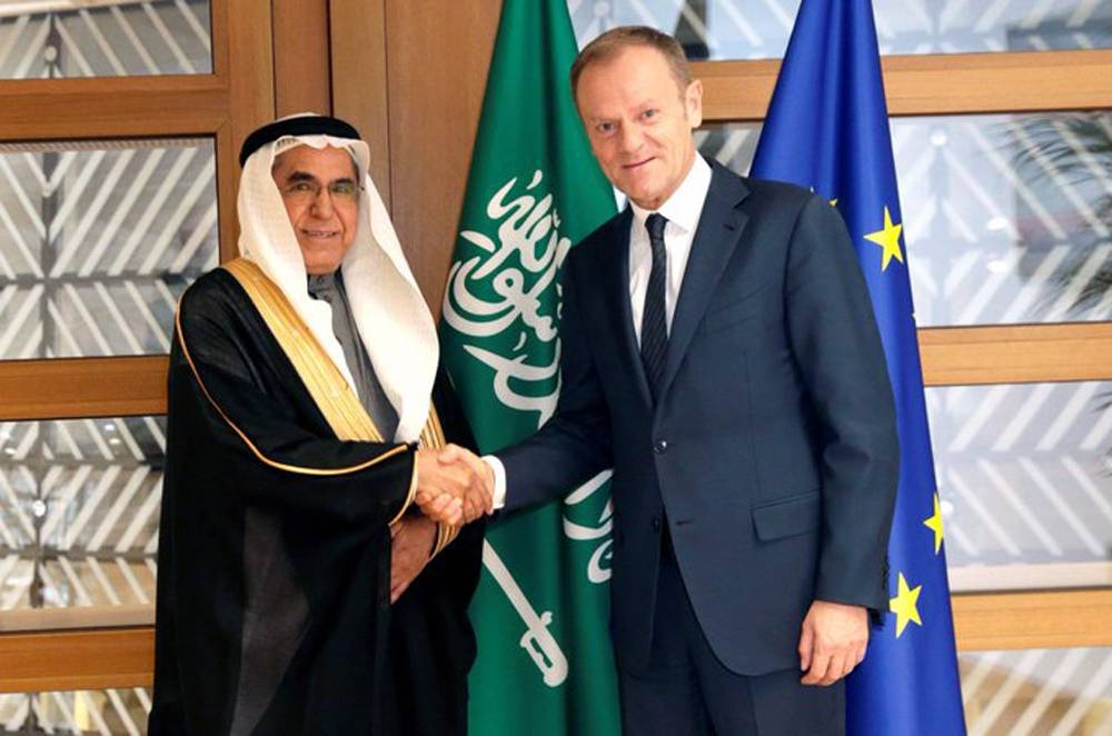 Permanent Representative of the Kingdom of Saudi Arabia to the European Union Ambassador Saad Al-Arifi with an EU official in this file photo.