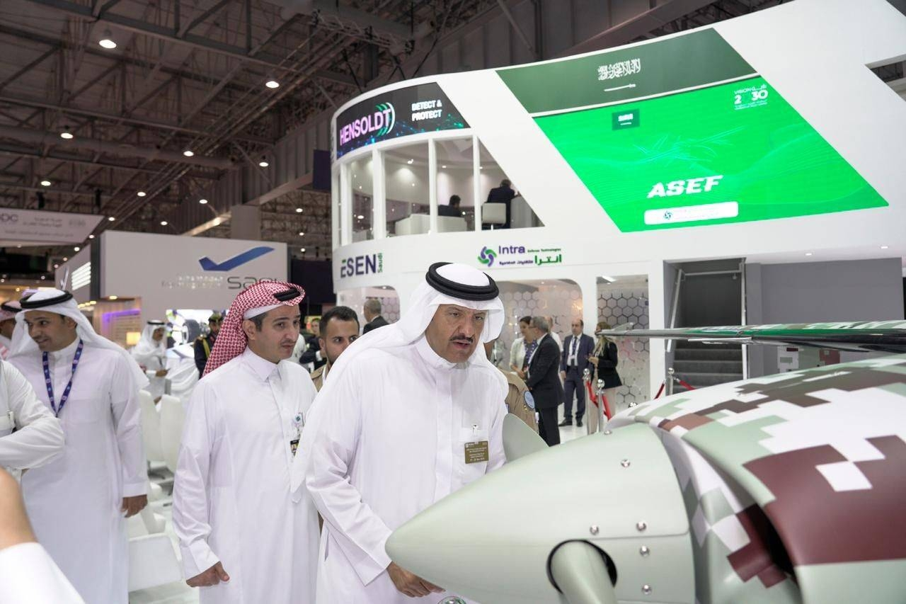 Prince Sultan Bin Salman, Chairman of Saudi Space Commission, is seen at INTRA Defense Technologies pavilion during Dubai Airshow 2019 in this file picture.