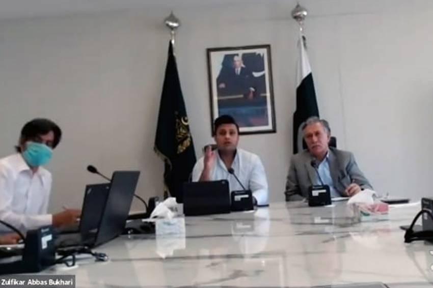 Special Assistant to Prime Minister Imran Khan for Overseas Pakistanis Zulfiqar Abbas Bukhari and Zulqarnain Ali Khan, chairman utility stores Pakistan, in an online meeting.