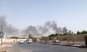 Plumes of smoke can be seen rising from the site of the crash. — Courtesy photo