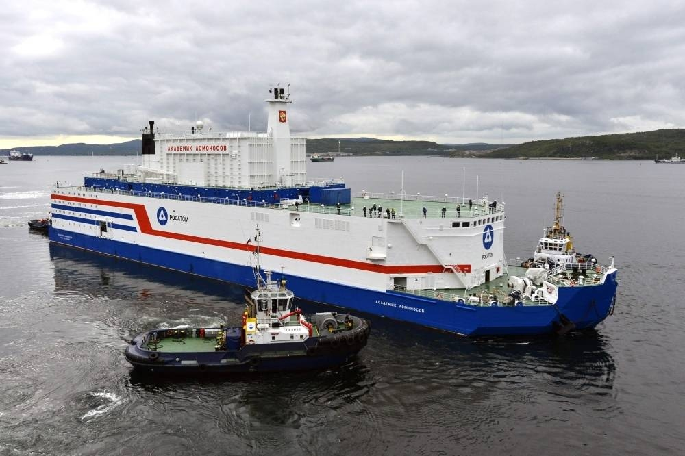 File photo shows then Akademik Lomonosov floating nuclear plant being towed from the Arctic port of Murmansk before arriving at its permanent parking port in Pevek, in the autonomous district of Chukotka.
