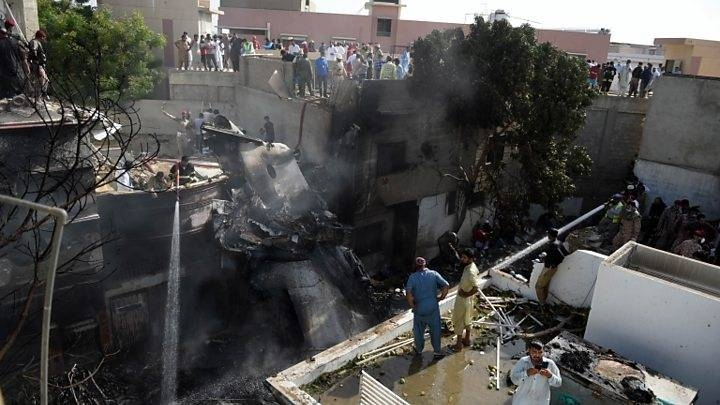 The ill-fated Airbus A-320 that took off from Lahore crashed into one of the densely populated neighborhoods street in Karachi, the financial capital of Pakistan on Friday, causing significant damage to houses in the area. Of the 99 people aboard, 97 were killed and only two passengers survived. — Courtesy photo