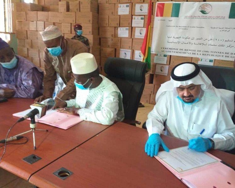Saudi Arabia's Ambassador to Sierra Leone and Guinea Dr. Hussein Bin Nasser Al-Dakhil Allah gifted over 50 and 100 tons of dates to the governments of Sierra Leone and Guinea respectively. — SPA photos