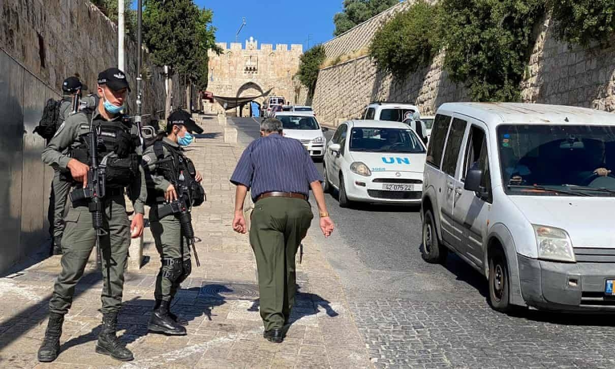 Israeli border police secure an area near Jerusalem's Old City where officers fatally shot a man they believed was armed. -- Courtesy photo