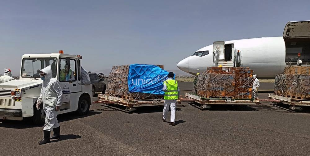 A UNICEF chartered plane at Sanaa airport offloading lifesaving supplies to help curb the spread of COVID-19 in conflict-hit Yemen. — courtesy photo UNICEF