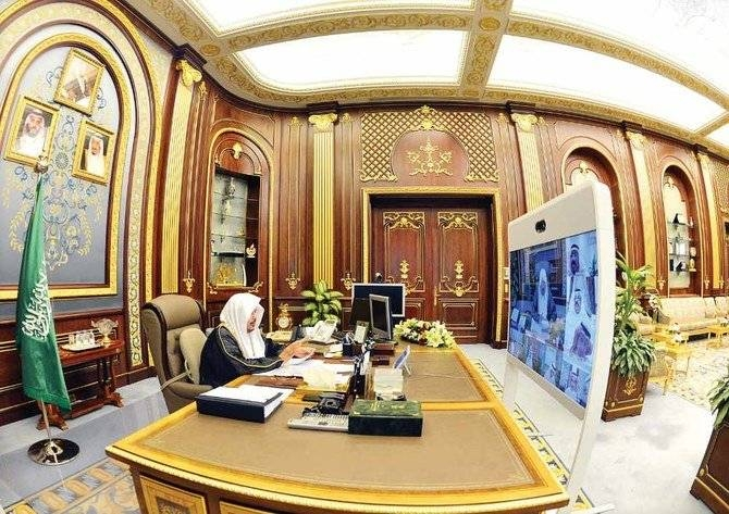 Shoura Council Speaker Dr. Abdullah Al-Asheikh chairs a remote session of the Council as a health precaution in Riyadh on Monday. -- SPA