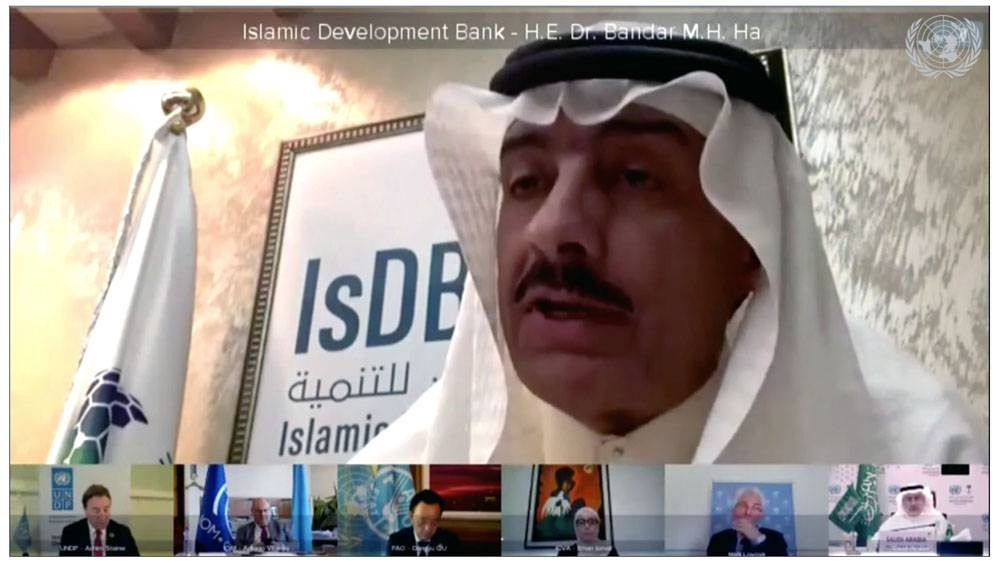 Dr. Bandar Hajjar, IsDB President, during the Virtual Donors' Conference for Yemen 2020,
