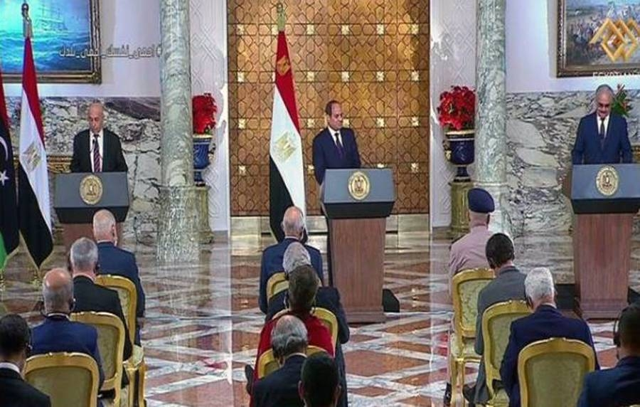 A TV grab of the Egyptian President Abdel Fatah El-Sisi, Commander-in-Chief of the Libyan Armed Forces Field Marshal Khalifa Haftar and Speaker of the Libyan House of Representatives Aqilla Saleh during the announcement of the Cairo Declaration.