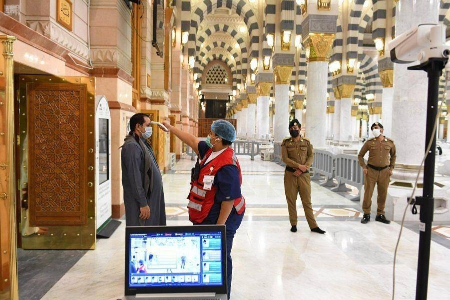 Thermal cameras at the Prophet's Mosque in Madinah screens all visitors as a precautionary measure. — SPA photo