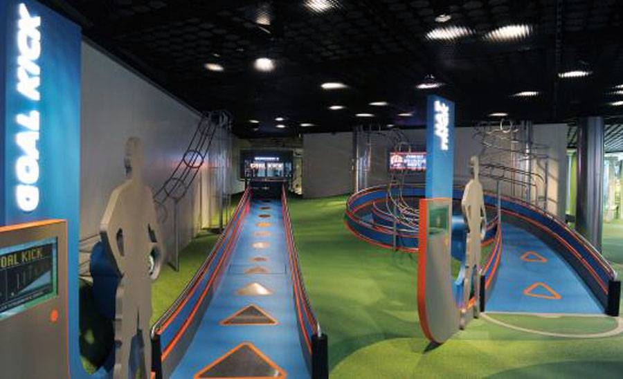 Inside view of the FIFA museum in Zurich.