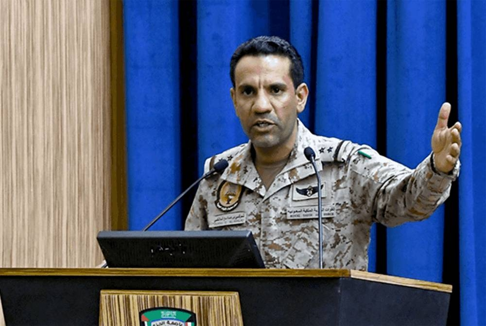 Arab Coalition spokesman Col. Turki Al-Maliki speaks at a press conference in Riyadh on Thursday.