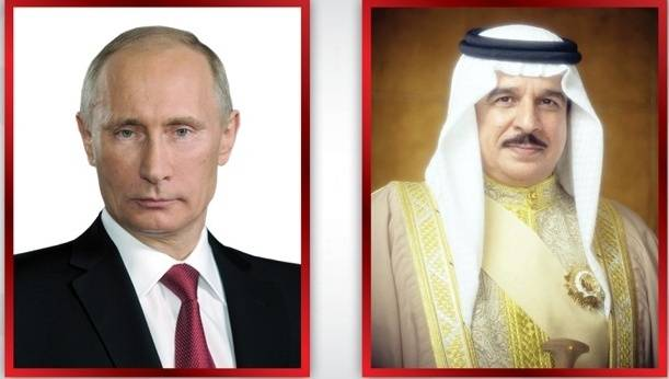 Bahrain's King Hamad Bin Isa Al Khalifa, right, and Russian President Vladimir Putin