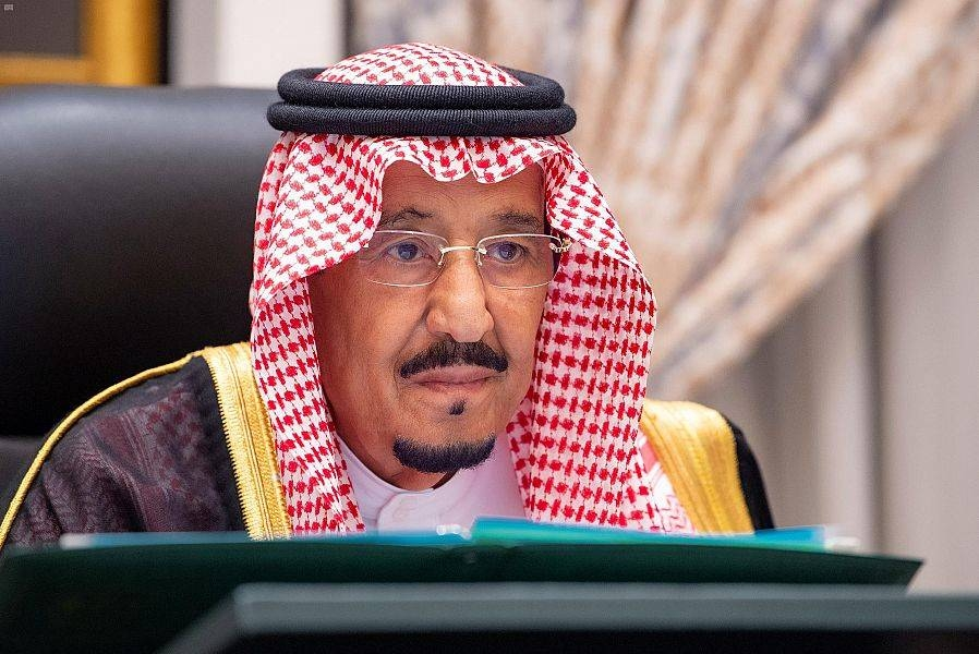 Custodian of the Two Holy Mosques King Salman is seen chairing the weekly Cabinet meeting.