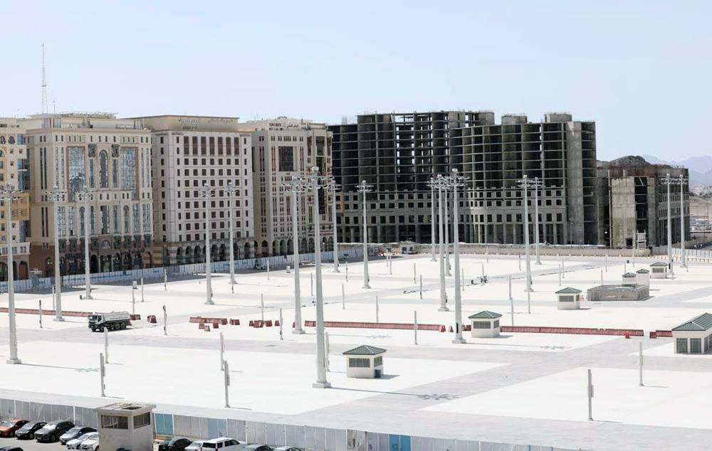 Part of the expansion of the western squares of the Prophet's Mosque in Madinah on Wednesday.