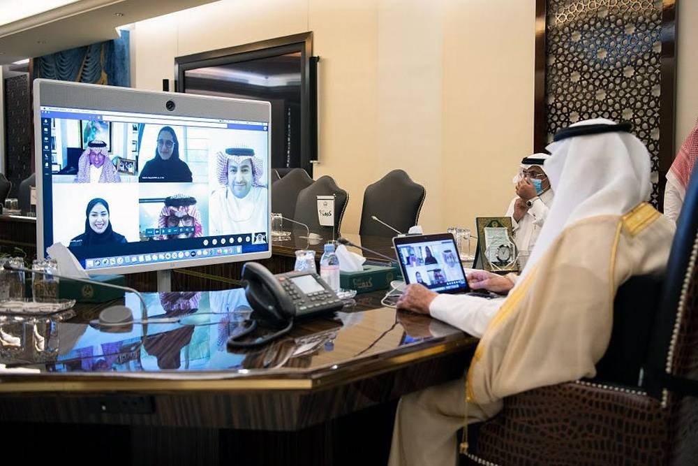 Prince Khalid Al-Faisal, emir of Makkah and advisor to Custodian of the Two Holy Mosques, in a virtual session with Minister of Tourism Ahmad Al-Khateeb and other officials of the ministry.