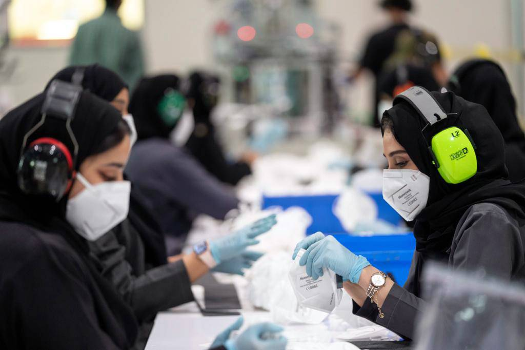 Emirati women hard at work in the UAE's first respirator manufacturing facility, established in May in Al Ain.