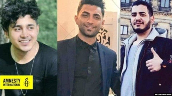 From right to left: Amirhossein Moradi, Mohammad Rajabi and Saeed Tamjidi have been sentenced to death in connection with acts of arson that took place during protests in November 2019. — Courtesy photo