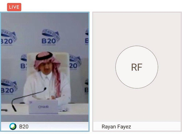 """Yousef Al-Benyan, chair of B20 Saudi Arabia. during the virtual discussion entitled """"Preparing for the Second Wave""""."""