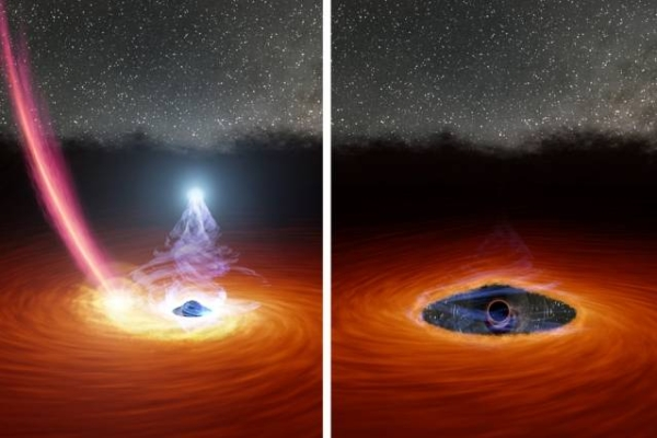 Astronomers at MIT and elsewhere watched a black hole's corona disappear, then reappear, for first time. A colliding star may have triggered the drastic transformation. — courtesy NASA/JPL-Caltech