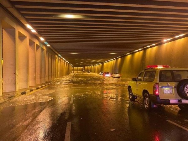 Flooding hit Taif streets after a strong storm dumped heavy rain over the area on Friday. — Courtesy photo