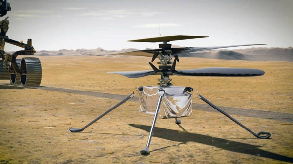 When NASA's Ingenuity Mars Helicopter attempts its first test flight on the Red Planet, the agency's Mars 2020 Perseverance rover will be close by, as seen in this artist's concept. — courtesy NASA/JPL-Caltech