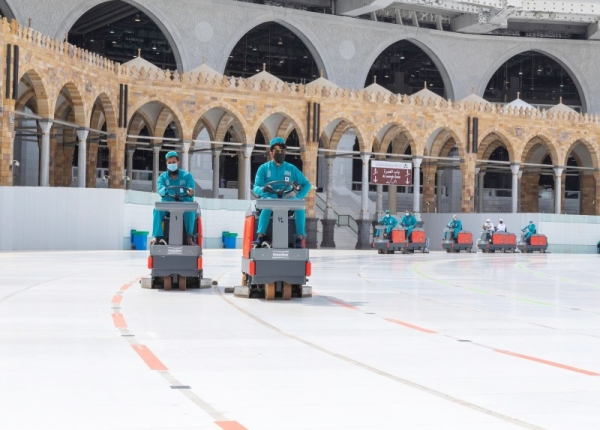More than 3,500 male and female workers to clean and sterilize the entire premises of the holy mosque at least 10 times on a daily basis. — SPA
