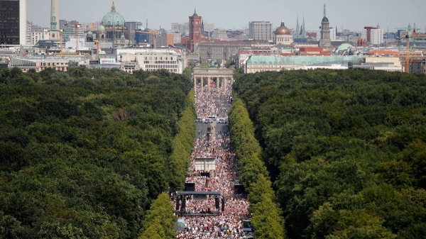 Thousands of Germans took to the street in the capital Berlin on Saturday to protest against the country's coronavirus restrictions. — Courtesy photo