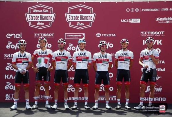 After a strong squad performance at the Vuelta Burgos, which included a win for Fernando Gaviria, UAE Team Emirates has continued its successful season restart with Italian national champion, David Formolo, taking a well-earned podium spot at Strade Bianche.