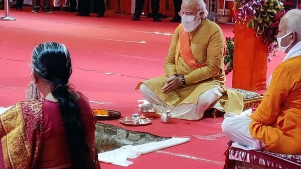 Indian PM Narendra Modi on Wednesday laid the foundation stone for a Hindu temple in the northern city of Ayodhya on the land where the historic Babri Masjid once stood. — Courtesy photo