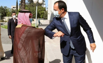 Foreign Minister Prince Faisal Bin Farhan Bin Abdullah is welcomed by his counterpart Foreign Minister Nikos Christodoulides during his visit on Thursday to the Republic of Cyprus.