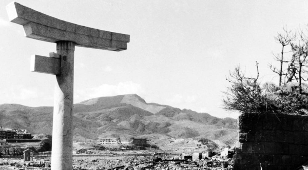 Ruins of Nagasaki about 800 meters from the hypocenter in mid-October 1945. — courtesy UN Photo/Shigeo Hayashi