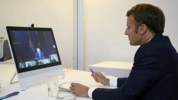 French President Emmanuel Macron attends a donor teleconference with other world leaders, in Bormes-les-Mimosas. — Courtesy photo