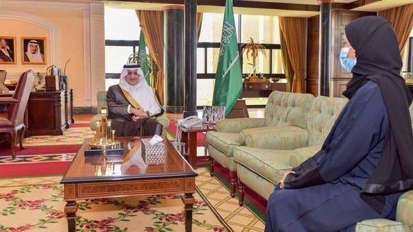 Emir of Tabuk Region Prince Fahd Bin Sultan receives Dr. Khulood Al-Khamis in his office on Monday. — SPA photo
