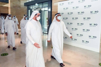 Saeed Mohammed Al Tayer, MD & CEO of Dubai Electricity and Water Authority (DEWA), welcomed a delegation headed by Dawood Al Hajiri, director general of Dubai Municipality, in Moro Hub (Data Hub Integrated Solutions).