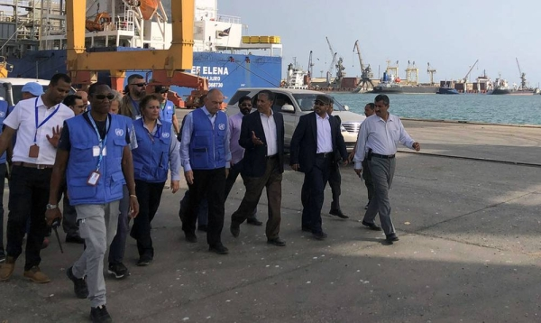 The Chairman of the Redeployment Coordination Committee, Lt. Gen. Michael Lollesgaard, visits the ports of Hodeidah, Salif and Ras Issa. — courtesy UNHMA