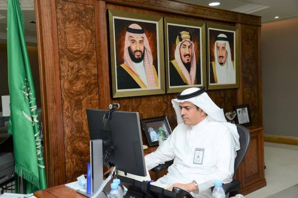 Dr. Mansour Bin Saleh Al-Yami, undersecretary of the Ministry of Transport for Support Services and chairman of the Board of Trustees of the Saudi Academy, chairs a virtual meeting of the board. — Courtesy photo