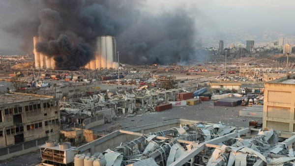 Smoke rises from the site of the Aug. 4 explosion in Beirut. — File photo