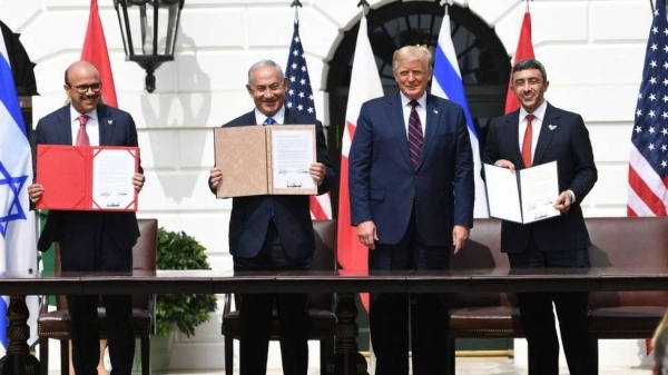 Bahrain and the United Arab Emirates signed two separate peace deals brokered by US President Donald Trump to normalize relations with Israel at a ceremony at the White House on Tuesday. US President Donald Trump heralded a pair of historic agreements formalizing diplomatic relations between Israel and two Gulf Arab nations in a ceremony on Tuesday on the White House South Lawn. — Courtesy photo