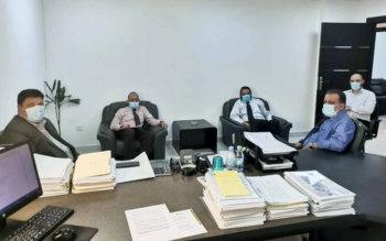 L to R: Ahmed Bin Mahfooz (JCA), Shamshad (Ace), Ashfaq Ahmed (Ace), A. A. Merchant (JCA) and Yassin Al Shareef (Ace).