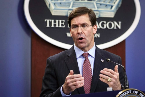 File photo shows US Defense Secretary Mark Esper.
