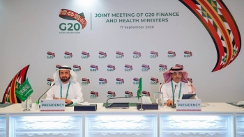 Health Minister Dr. Tawfiq Al-Rabiah and Minister of Finance Mohammed Al Jadaan at the Joint G20 Finance & Health Ministers meeting.