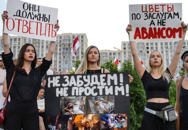 UN human rights experts, strongly criticized the level of violence being used by security forces across Belarus against peaceful protesters and journalists, following five days of demonstrations over the disputed presidential election. — courtesy Kseniya Halubovich