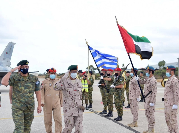 Chief of Staff of the United Arab Emirates Armed Forces Lt. Gen. Hamad Mohammed Thani Al Rumaithi, who is currently visiting Greece, on Tuesday inspected the site of joint military exercises between the UAE and Greek air forces in the Greek island of Crete. — WAM photos
