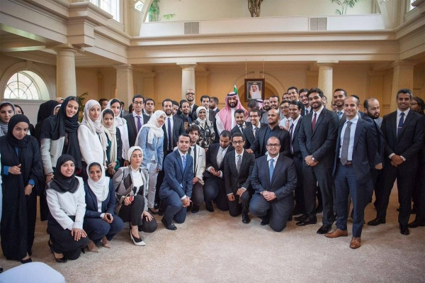 File photo of the Crown Prince Muhammad Bin Salman with Saudi students in the United States. — SPA