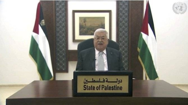 "Palestinian President Mahmoud Abbas highlighted the suffering of his people and the misery they experience every day ""while the world stands by watching"" as he addressed the United Nations General Assembly on Friday via a pre-recorded video. — Courtesy photo"