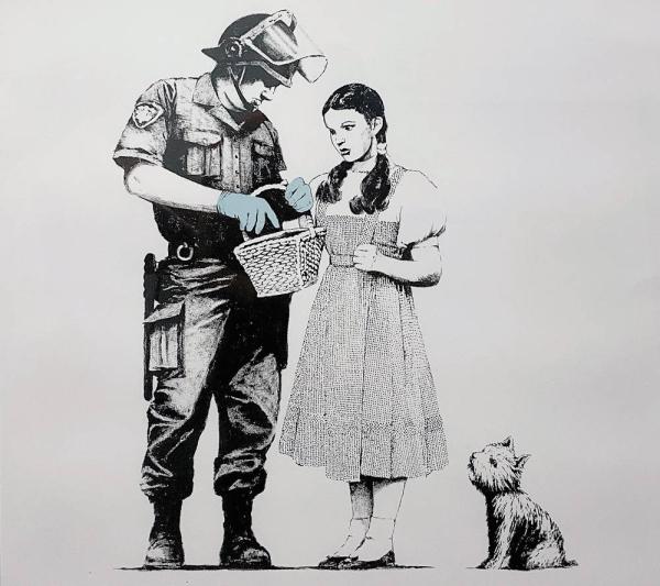 Gangsta Rat (Red) by Banksy, 2004, Screenprint in colors on wove paper, (50 x 35 cm)