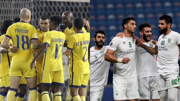 A combo picture of Saudi Arabia clubs, Riyadh based Al-Nasr football club and its rival Jeddah-based Al-Ahli team, who face off in the AFC Championships quarterfinals on Wednesday.