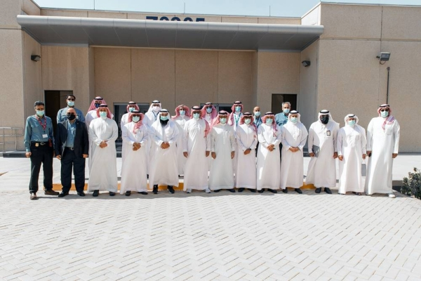 Minister of Industry and Mineral Resources Bandar Al-Khorayef and his accompanying delegation along with the CEO of Sadara Dr. Faisal Al-Faqeer and members of the company's senior management during his visit to the Jubail facility.