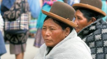 Indigenous women on a street in La Paz, Bolivia. — courtesy ILO/R. Lord